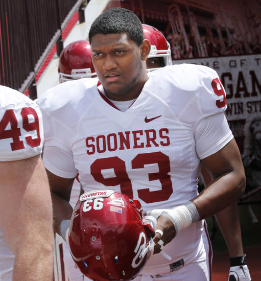 Jordan Wade (93) steps onto the filed before the annual Spring Football Game at Gaylord Family-Oklahoma Memorial Stadium in Norman, Okla., on Saturday, April 13, 2013. Photo by Steve Sisney, The Oklahoman