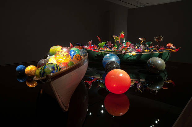 "The ""Ikebana Boat"" and ""Float Boat"" are focal points of ?Illuminations: Rediscovering the Art of Dale Chihuly"" at the Oklahoma City Museum of Art. Photo provided by the Oklahoma City Museum of Art. <strong></strong>"