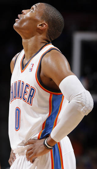 Oklahoma City 's Russell Westbrook (0) looks up during an NBA basketball game between the Oklahoma City Thunder and the Golden State Warriors at Chesapeake Energy Arena in Oklahoma City, Sunday, Nov. 18, 2012.  Photo by Garett Fisbeck, The Oklahoman
