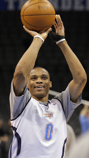 Oklahoma City's Russell Westbrook takes a shot during the NBA Finals practice day at the Chesapeake Energy Arena on Monday, June 11, 2012, in Oklahoma City, Okla. Photo by Chris Landsberger, The Oklahoman