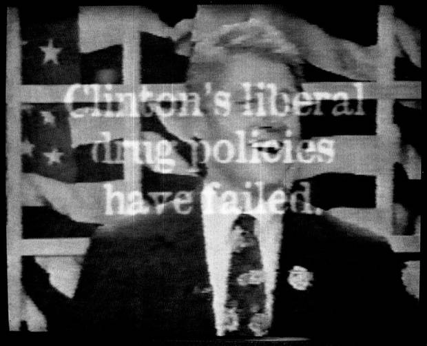FILE - This Sept. 20, 1996 file photo shows a television ad aired by Republican presidential candidate Bob Dole's campaign which includes footage from a 1992 MTV interview of a laughing President Clinton saying he would inhale marijuana if given the chance to relive his college days. The words on the screen read, ''Clinton's liberal drug policies have failed.''  On the occasion of  �Legalization Day,� Thursday, Dec. 6, 2012, when Washington�s new law takes effect, AP takes a look back at the cultural and legal status of the �evil weed� in American history. (AP Photo/Dole Campaign, File)