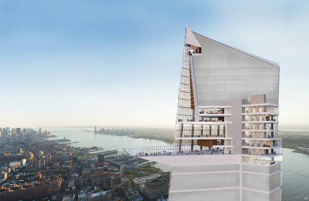 In this artist rendering created by Visualhouse and released by Hudson Yards, the Hudson Yards Observation Deck is shown. With the ceremonial groundbreaking on Tuesday, Dec. 4, 2012, the transformation of the largest undeveloped property in Manhattan from a railroad storage yard into a sleek new neighborhood of spiky high-rises and graceful parks has begun. The first office tower is expected to be completed in 2015. (AP Photo/Visualhouse via Hudson Yards)