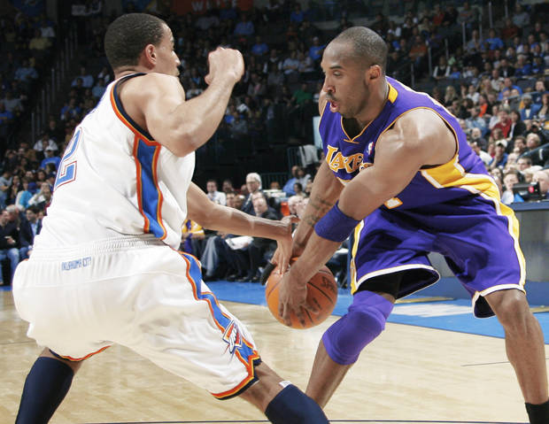 Thunder guard Thabo Sefolosha, right, and OKC's defense has been a huge factor in the team's drastic improvement this season.  PHOTO BY NATE BILLINGS, THE OKLAHOMAN