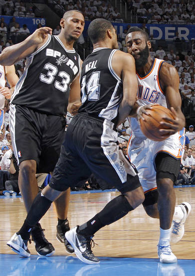 Oklahoma City's James Harden (13) collides with San Antonio's Gary Neal (14) as San Antonio's Boris Diaw looks on during Game 6 of the Western Conference Finals between the Oklahoma City Thunder and the San Antonio Spurs in the NBA playoffs at the Chesapeake Energy Arena in Oklahoma City, Wednesday, June 6, 2012. Photo by Chris Landsberger, The Oklahoman