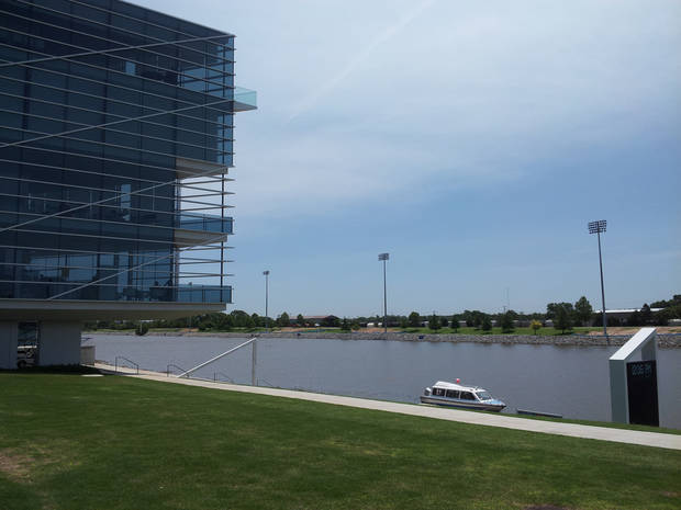 A view of the Chesapeake Finish Line Tower that offers a panoramic view of the race course on the Oklahoma River. Photo by Katelyn Kelly.