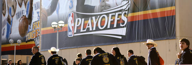 FFA students in town for the FFA State Convention pass by the Cox Convention Center before game two of the Western Conference semifinals between the Memphis Grizzlies and the Oklahoma City Thunder in the NBA basketball playoffs at Oklahoma City Arena in Oklahoma City, Tuesday, May 3, 2011. Photo by Bryan Terry, The Oklahoman