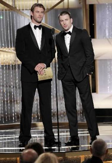 Chris Hemsworth (left) and Chris Evans at the Golden Globe Awards. (NBC)