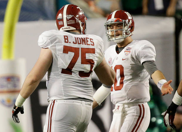 Alabama's AJ McCarron (10) and Barrett Jones argue during the second half of the BCS National Championship college football game against Notre Dame Monday, Jan. 7, 2013, in Miami. (AP Photo/David J. Phillip)  ORG XMIT: BCS174