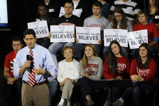 Republican vice presidential candidate, Rep. Paul Ryan, R-Wis., campaigns at Youngstown State University, Saturday, Oct. 13, 2012 in Youngstown, Ohio. (AP Photo/Mary Altaffer)