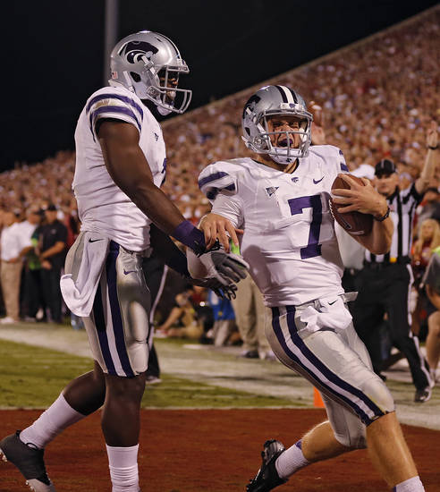 Kansas State's Collin Klein (7) reacts with Kansas State's Chris Harper (3) after scoring a touchdown during the college football game between the University of Oklahoma Sooners (OU) and the Kansas State University Wildcats (KSU) at the Gaylord Family-Memorial Stadium on Saturday, Sept. 22, 2012, in Norman, Okla. Photo by Chris Landsberger, The Oklahoman