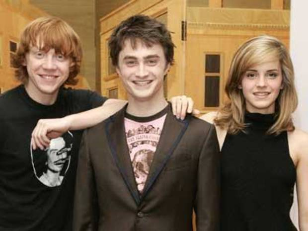 (from left to right) Rupert Grint, Daniel Radcliffe and Emma Watson