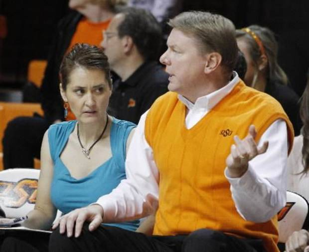 OSU women's basketball coach Kurt Budke and his assistant coach Miranda Serna during an exhibition women's NCAA college basketball game between the Oklahoma State University Cowboys and the Fort Hays State Tigers at Gallagher-Iba Arena in Stillwater, Okla., Wednesday, Nov. 9, 2011. Photo by Bryan Terry