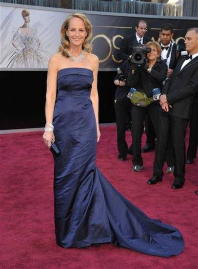 Actress Helen Hunt arrives at the Oscars at the Dolby Theatre on Sunday Feb. 24, 2013, in Los Angeles. (Photo by John Shearer/Invision/AP)
