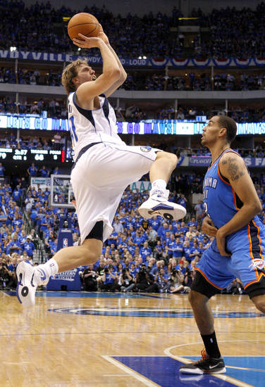 during game 1 of the Western Conference Finals in the NBA basketball playoffs between the Dallas Mavericks and the Oklahoma City Thunder at American Airlines Center in Dallas, Tuesday, May 17, 2011. Photo by Bryan Terry, The Oklahoman