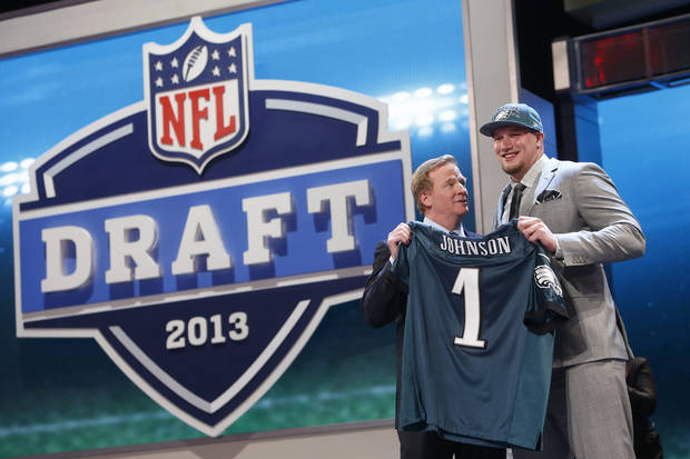 Former Oklahoma offensive tackle Lane Johnson, right, was selected fourth overall by the Philadelphia Eagles in last month's NFL Draft. AP PHOTO