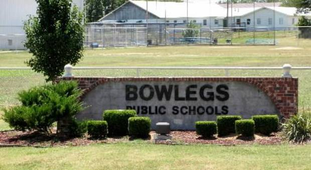 A sign sits outside Bowlegs Public Schools in Seminole County, 60 miles east of Oklahoma City. The school is one of 10 in Seminole County with a population of just 25,000. Photo by Li Lin, The Oklahoman