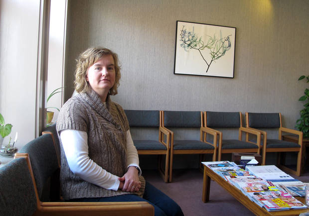 Tammi Kromenaker, director of the Red River Valley Women's Clinic, North Dakota's sole abortion provider, sits in the waiting area of the downtown Fargo facility, Wednesday, Feb. 20, 2013. Kromenaker has testified against state legislation aimed at limiting abortion.  (AP Photo/Dave Kolpack)