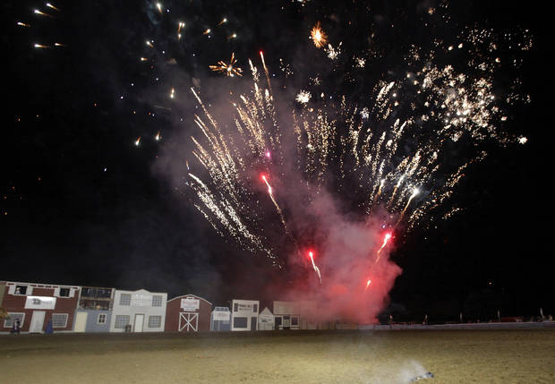 Fireworks, representing exploding dynamite in the final act during the Pawnee Bill Wild West Show at the Pawnee Bill Ranch in Pawnee, Oklahoma on Saturday,   June 23, 2012.  Photo by Jim Beckel, The Oklahoman