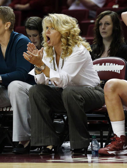 Sooner head coach Sherri Coale encourages her team during the second half as the University of Oklahoma (OU) Sooner women's basketball team plays the Northwestern State Lady Demons at the Lloyd Noble Center on Thursday, Nov. 29, 2012  in Norman, Okla. Photo by Steve Sisney, The Oklahoman