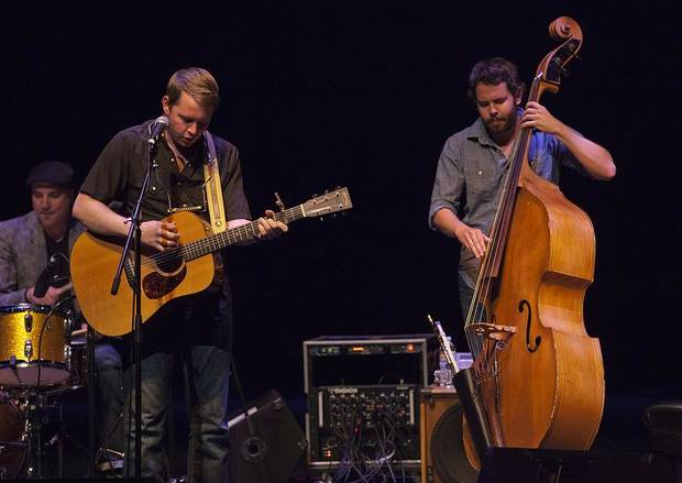 From left, drummer Giovanni Carnuccio III, John Fullbright, and bassist David Leach perform at UCO's Mitchell Hall Theater.