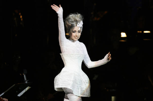 Lady Gaga takes the stage to perform during the Rainforest Fund's 21st Birthday Celebration benefit concert at Carnegie Hall Thursday, May 13, 2010 in New York.  (AP Photo/Jason DeCrow) ORG XMIT: NYJD105