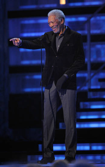 Morgan Freeman speaks on stage at the 51st Annual Grammy Awards on Sunday, Feb. 8, 2009, in Los Angeles. (AP Photo/Mark J. Terrill)
