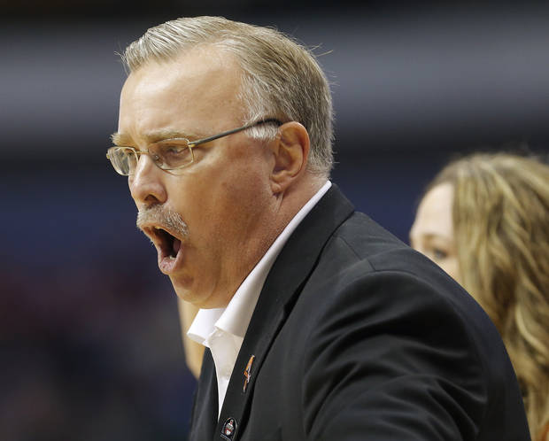 Oklahoma State coach Jim Littell reacts during the Big 12 tournament women's college basketball game between Oklahoma State University and Baylor at American Airlines Arena in Dallas, Sunday, March 10, 2012.  Oklahoma State lost 77-69. Photo by Bryan Terry, The Oklahoman