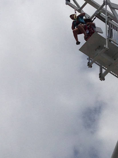 A member of the St. Luke's United Methodist Church youth group about to jump off the Rumble Drop, an 80-foot free fall. Photo provided by Charlie Ludden.