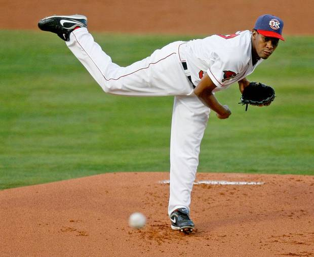 Oklahoma City's Elizardo Ramirez pitches during the Oklahoma City RedHawks home opener against the Memphis Redbirds at the Bricktown Ballpark in Oklahoma City, Friday, April 17, 2009. Photo by Bryan Terry, The Oklahoman