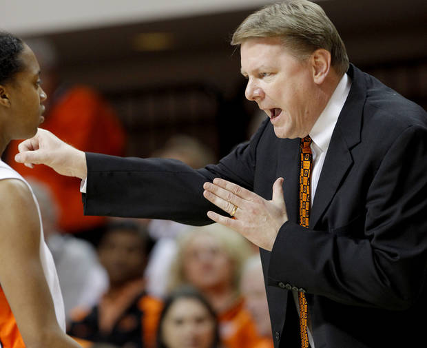 OSU coach Kurt Budke talks with Precious Robinson during the NCAA women's college basketball game between Oklahoma State University and Iowa State at Gallagher-Iba Arena in Stillwater, Okla., Wednesday, March 3, 2010.  Photo by Bryan Terry, The Oklahoman
