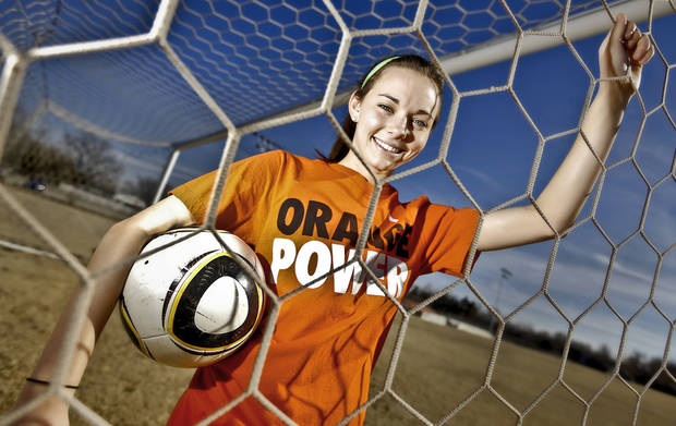 Bethany High School girls soccer player Caitlyn Biggers poses for a photo at the Southern Nazarene University soccer field on Tuesday, Jan. 31, 2012, in Oklahoma City, Okla. Biggers will sign to play soccer at Oklahoma State University (OSU).  Photo by Chris Landsberger, The Oklahoman