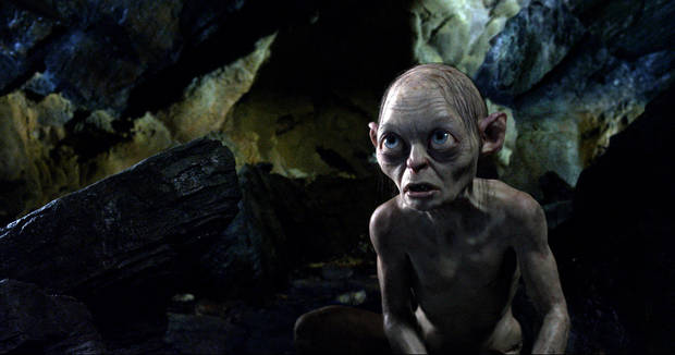 the character Gollum, voiced by Andy Serkis, is shown in a scene from the fantasy adventure &quot;The Hobbit: An Unexpected Journey.&quot;