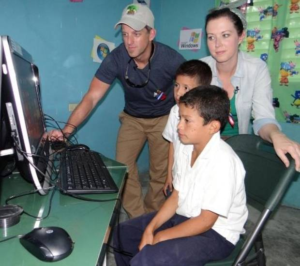 Country music duo Thompson Square - Miami, OK, native Keifer Thompson and his wife Shawna - recently delivered computers to a school in the Honduran village of Lepaterique, where they sponsor a little boy named Emerson through ChildFund International.
