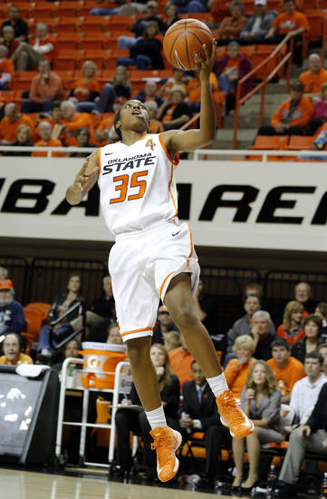 Oklahoma State's Kamri Anderson (35) shoots a lay up during the women's college basketball game between Oklahoma State University and Vermont at Gallagher-Iba Arena in Stillwater, Okla., Sunday,Dec. 16, 2012. Photo by Sarah Phipps, The Oklahoman