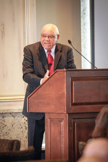 Herman Boone was at the Petroleum Club to address Southern Nazarene University�s Peer Learning Network. PHOTO PROVIDED