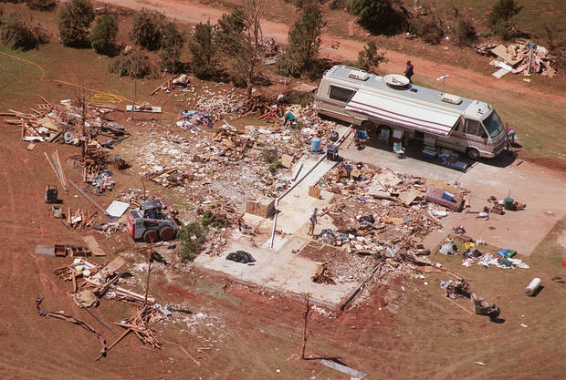 Tornado damage, aerial view: The Henry and Margaret Mobley home in Newcastle was destroyed when an F-5 rated tornado roared through the area Monday night The Mobleys hopped in a car, drove away and were uninjured.