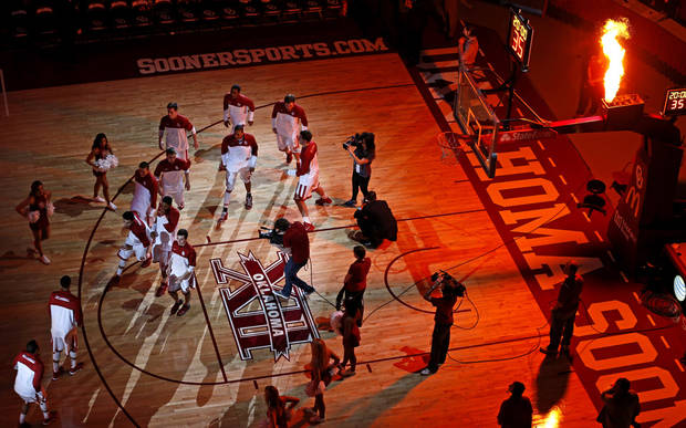 The Oklahoma basketball team is introduced before an NCAA college basketball game between the University of Oklahoma (OU) and Texas Christian University (TCU) at Lloyd Noble Center, Wednesday, Jan. 22, 2014.  Oklahoma won 77-69. Photo by Bryan Terry, The Oklahoman