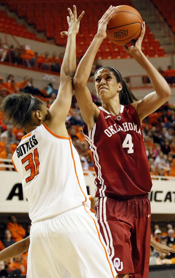 Oklahoma's Nicole Griffin (4) shoots against Oklahoma State's Kendra Suttles (31) during the Bedlam women's college basketball game between Oklahoma State University and the University of Oklahoma at Gallagher-Iba Arena in Stillwater, Okla., Saturday, Feb. 23, 2013. OSU beat OU, 83-62. Photo by Nate Billings, The Oklahoman