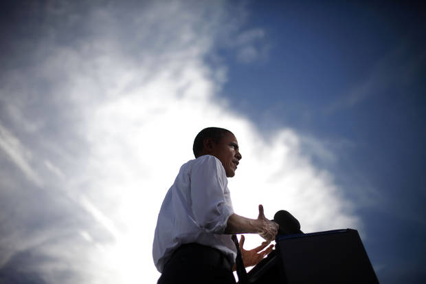 FILE - In this Nov. 1, 2012 file photo, President Barack Obama speaks during a campaign event at Cheyenne Sports Complex in Las Vegas. In 2012, Obama vaulted to a re-election victory over Mitt Romney, who had staked his bid on the weakest U.S. economic rebound since the Great Depression and had pledged to slash taxes. Yet Obama won despite the highest unemployment rate of any president seeking re-election since World War II.  (AP Photo/Pablo Martinez Monsivais, File)