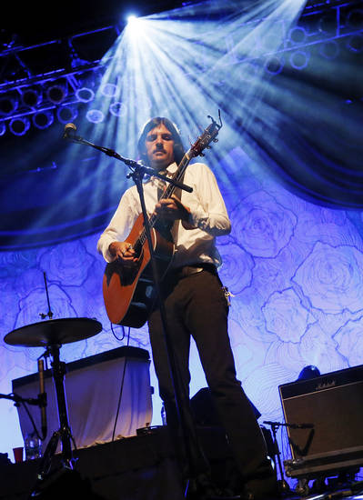 Seth Avett plays the guitar during a concert by the Avett Brothers at Chesapeake Energy Arena in Oklahoma City, Friday, July 27, 2012. Photo by Nate Billings, The Oklahoman