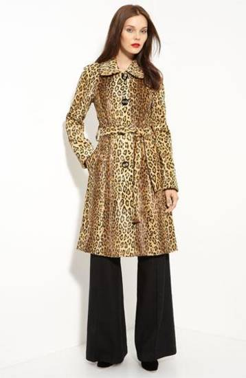Milly leopard print belted coat with rounded collar and oversize buttons, $695.