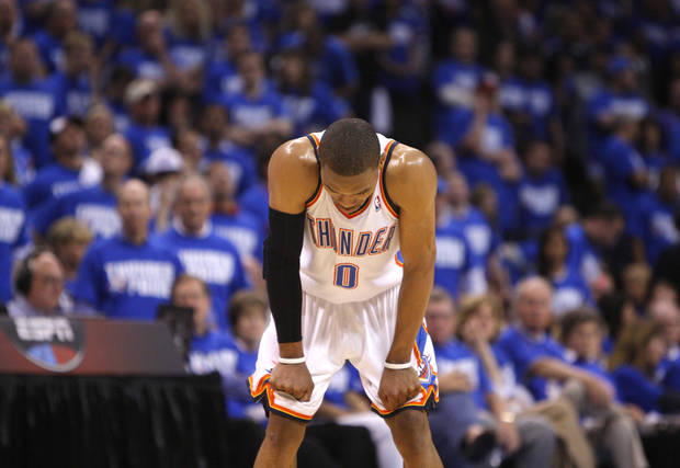 Oklahoma City's Russell Westbrook (0) reacts during game 3 of the Western Conference Finals of the NBA basketball playoffs between the Dallas Mavericks and the Oklahoma City Thunder at the OKC Arena in downtown Oklahoma City, Saturday, May 21, 2011. Photo by Sarah Phipps, The Oklahoman