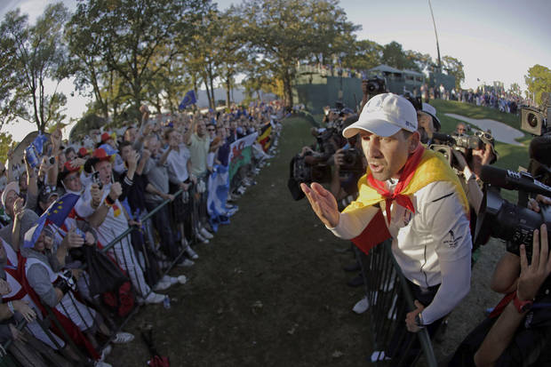 Europe's Sergio Garcia celebrates after winning the Ryder Cup PGA golf tournament Sunday, Sept. 30, 2012, at the Medinah Country Club in Medinah, Ill. (AP Photo/Charlie Riedel)  ORG XMIT: PGA231