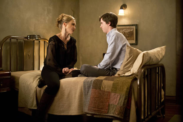 """Bates Motel"" Episode 102. Norma Bates and Norman Bates. Photo by Joseph Lederer Copyright 2011"