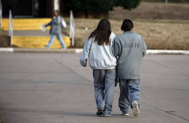 Inmates walk on the grounds of the Eddie Warrior Correctional Center Dec. 1, 2010. MIKE SIMONS/Tulsa World