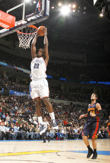 The Thunder&amp;#8217;s Jeff Green, left, dunks in front of Golden State&amp;#8217;s Marco Belinelli on Dec. 31. Oklahoma City won the game, and the two teams play again tonight in Oakland, Calif. Photo by sarah Phipps, the oklahoman