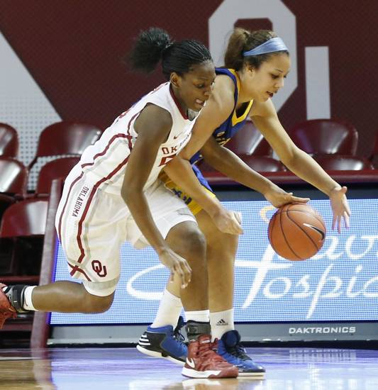 Oklahoma's Sharane Campbell (24) and Janelle Kearney (33) fight for a loose ball during the second half as the University of Oklahoma Sooners (OU) play the Riverside Highlanders in NCAA, women's college basketball at The Lloyd Noble Center on Thursday, Dec. 20, 2012  in Norman, Okla. Photo by Steve Sisney, The Oklahoman