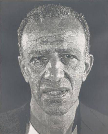 """Alex/Reduction Print, edition AP II/XV"" is a 1993 screen print from reduction linoleum cut by Chuck Close. Photo courtesy Jordan D. Schnitzer."