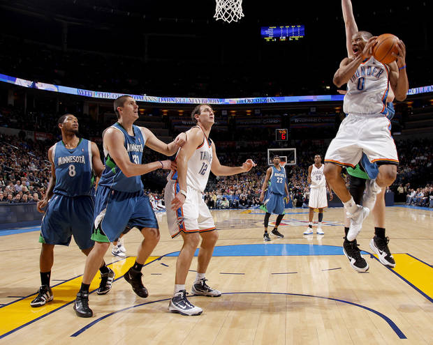 Oklahoma Cit' Russell Westbrook drives to the basket during the NBA basketball game between the Oklahoma City Thunder and the Minnesota Timberwolves, at the Ford Center in Oklahoma City, Friday, Feb. 26, 2010.  Photo by Bryan Terry, The Oklahoman ORG XMIT: KOD