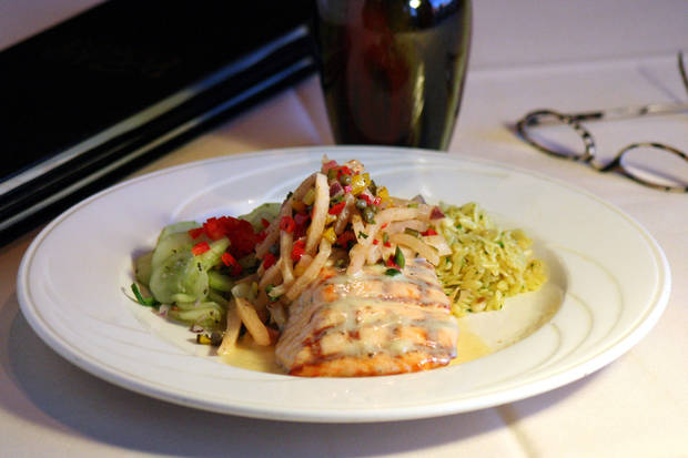 Grilled Atlantic Salmon - 7 oz. Fresh Atlantic Salmon grilled and topped with Beurre Blanc and Smoked Jicama & Pepper Confetti. Served with Orzo & Pine Nut Pilaf and Cucumber Salad.